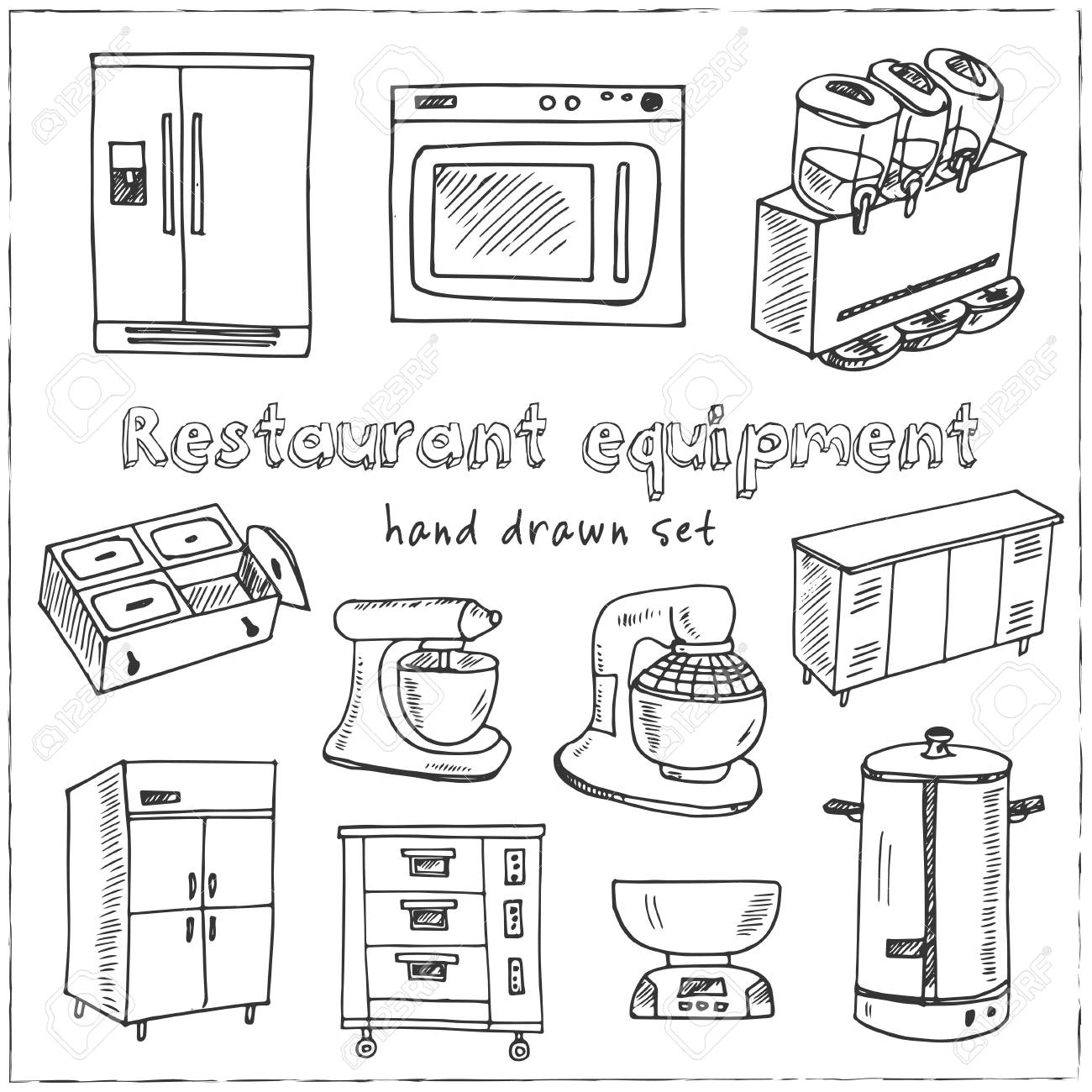 Restaurant Equipment Hand Drawn Doodle Set Sketches Vector Royalty Free Cliparts Vectors And Stock Illustration Image 102050636