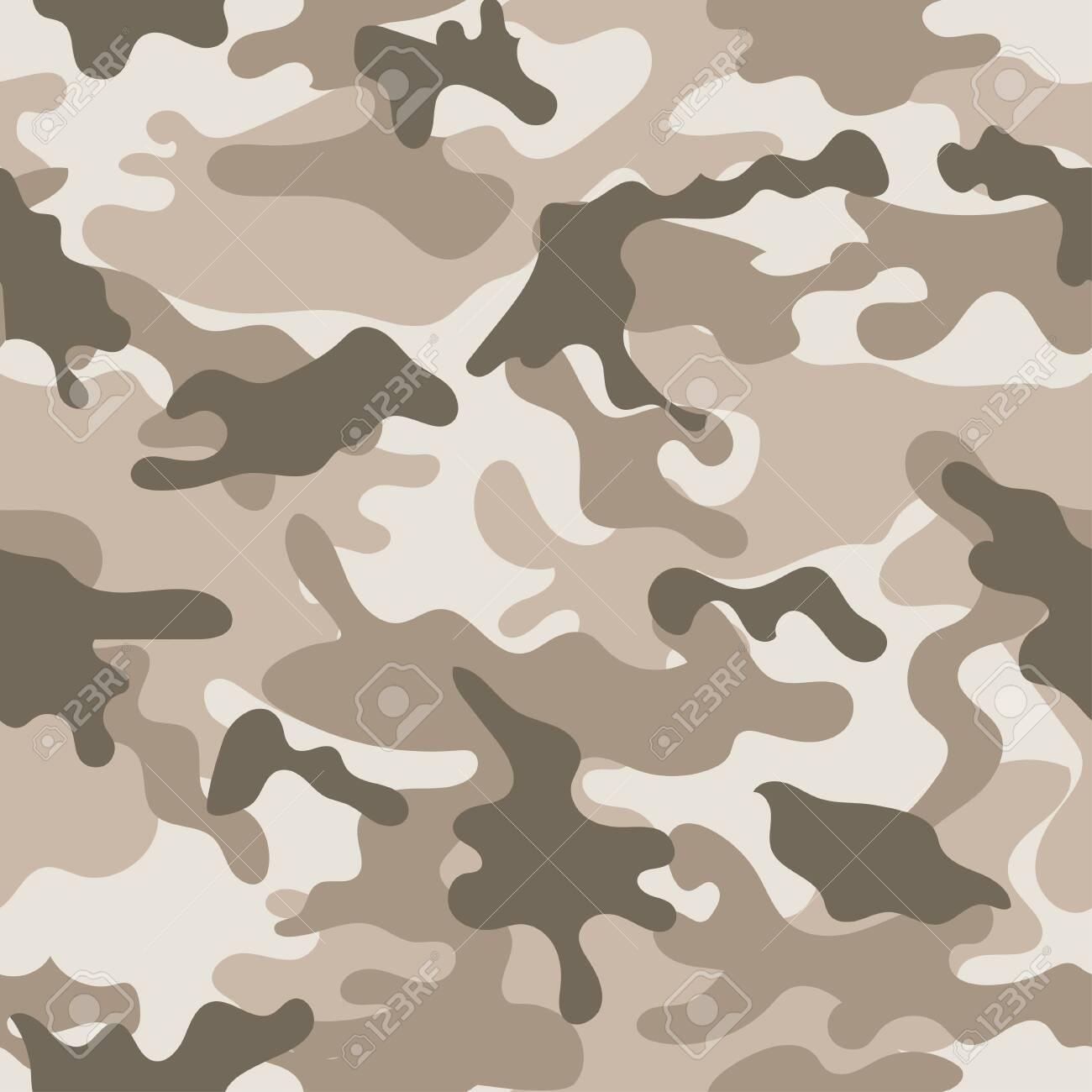 Seamless set of camouflage desert pattern vector. - 155140407