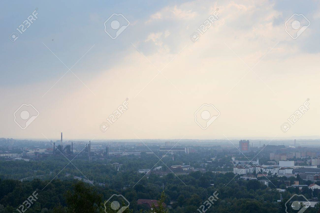 Industrial city in the Czech Republic covered with smog Stock Photo - 21825463