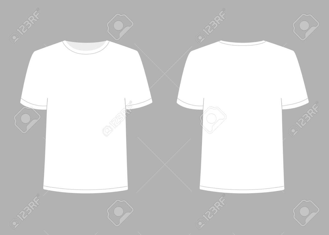 Mens White T Shirt With Short Sleeve Shirt Mockup In Front And Royalty Free Cliparts Vectors And Stock Illustration Image 146219877