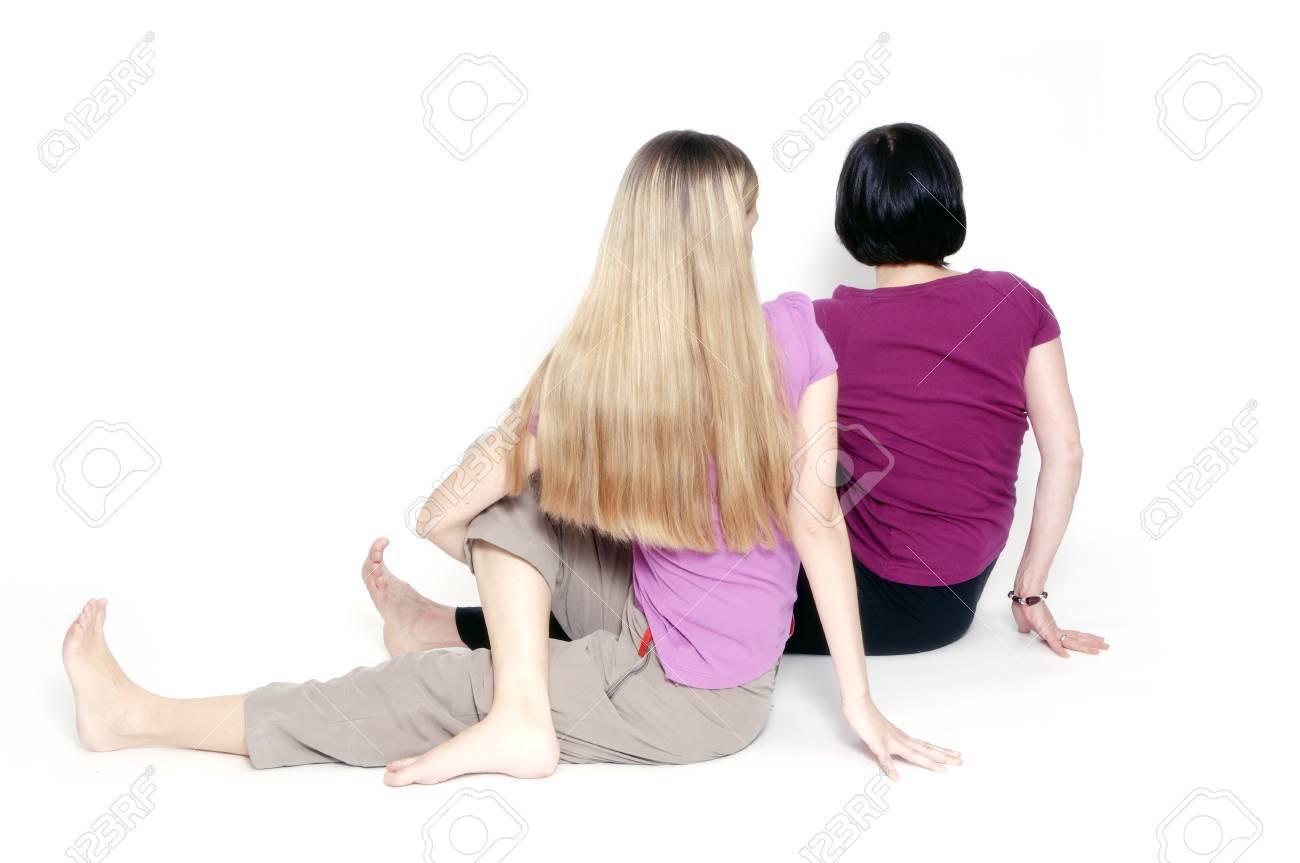 Yoga pose called sitting half spinal twist Stock Photo - 8378733