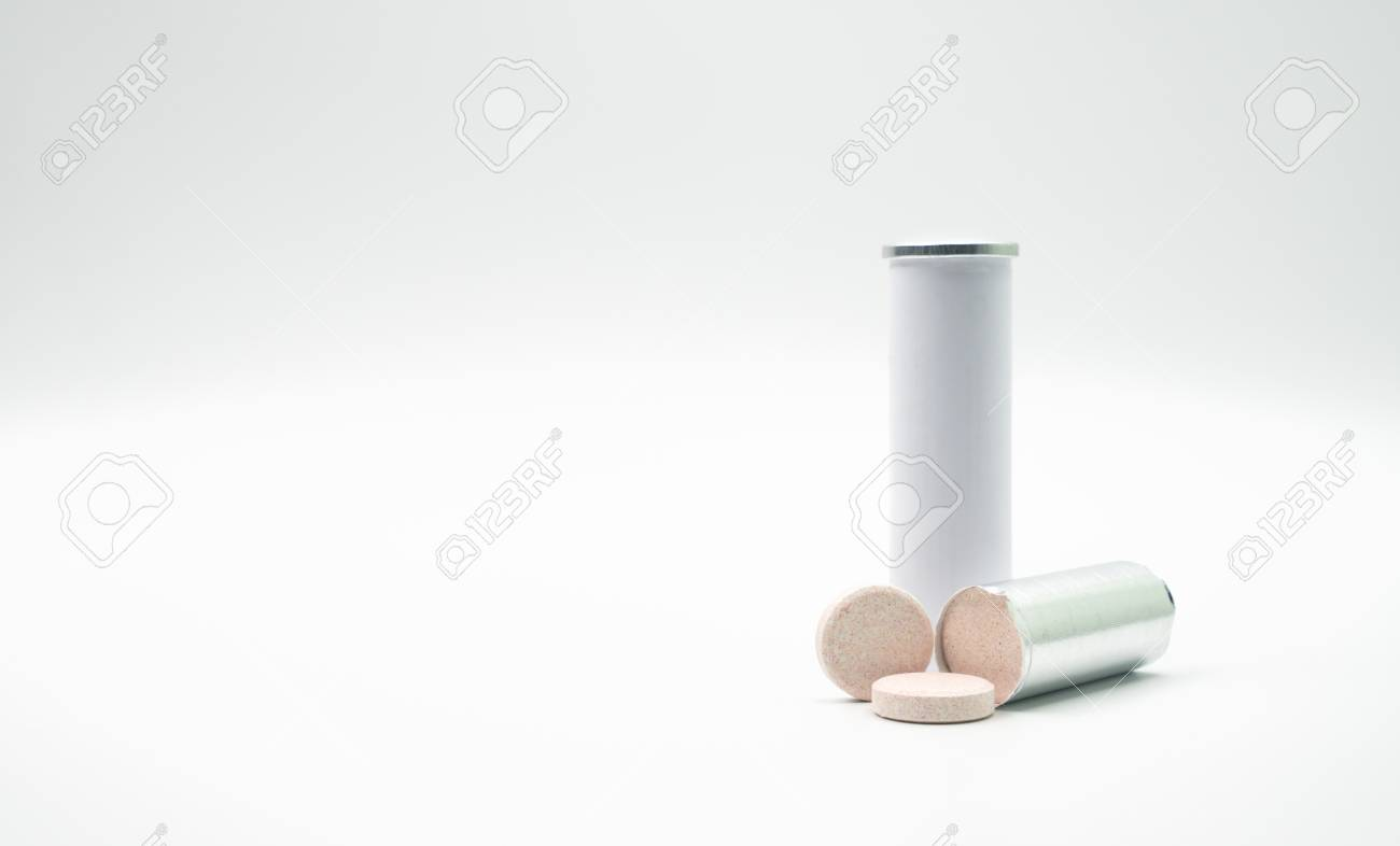 Effervescent tables tube with blank label and copy space on white