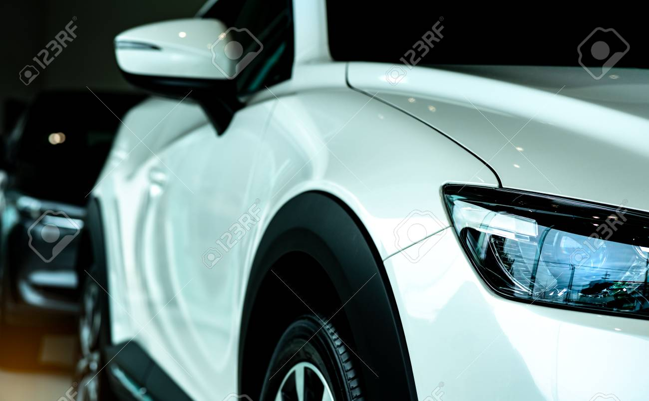 New Luxury White Car Parked In Modern Showroom For Sale Car Stock Photo Picture And Royalty Free Image Image 110766296