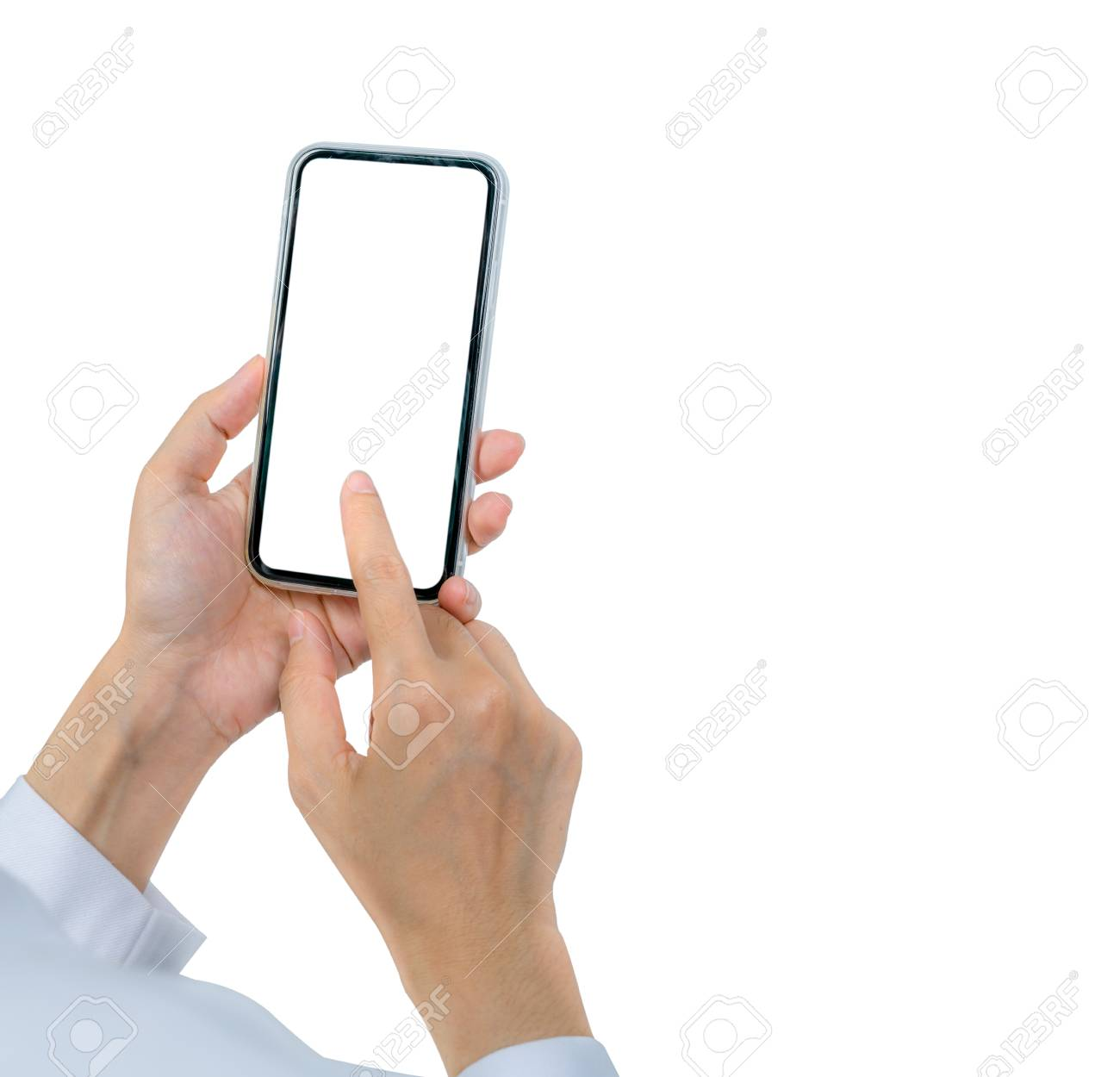 Woman's hand holding and using smartphone. Closeup hand touching smartphone with blank screen isolated on white background and copy space for text. Mobile phone with blank screen. Online marketing. - 118192183