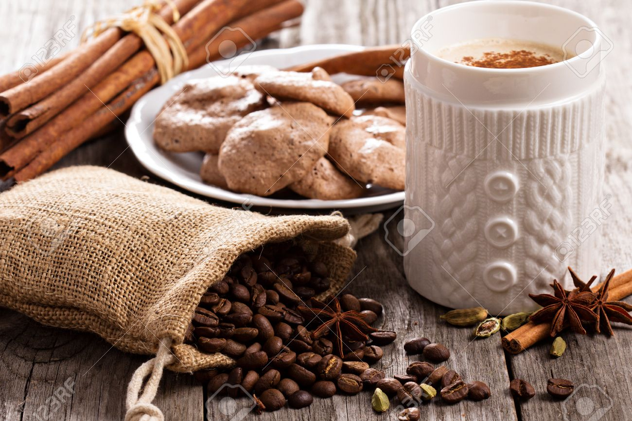 Coffee, Spices And Chocolate Meringue Cookies On Wood Stock Photo ...