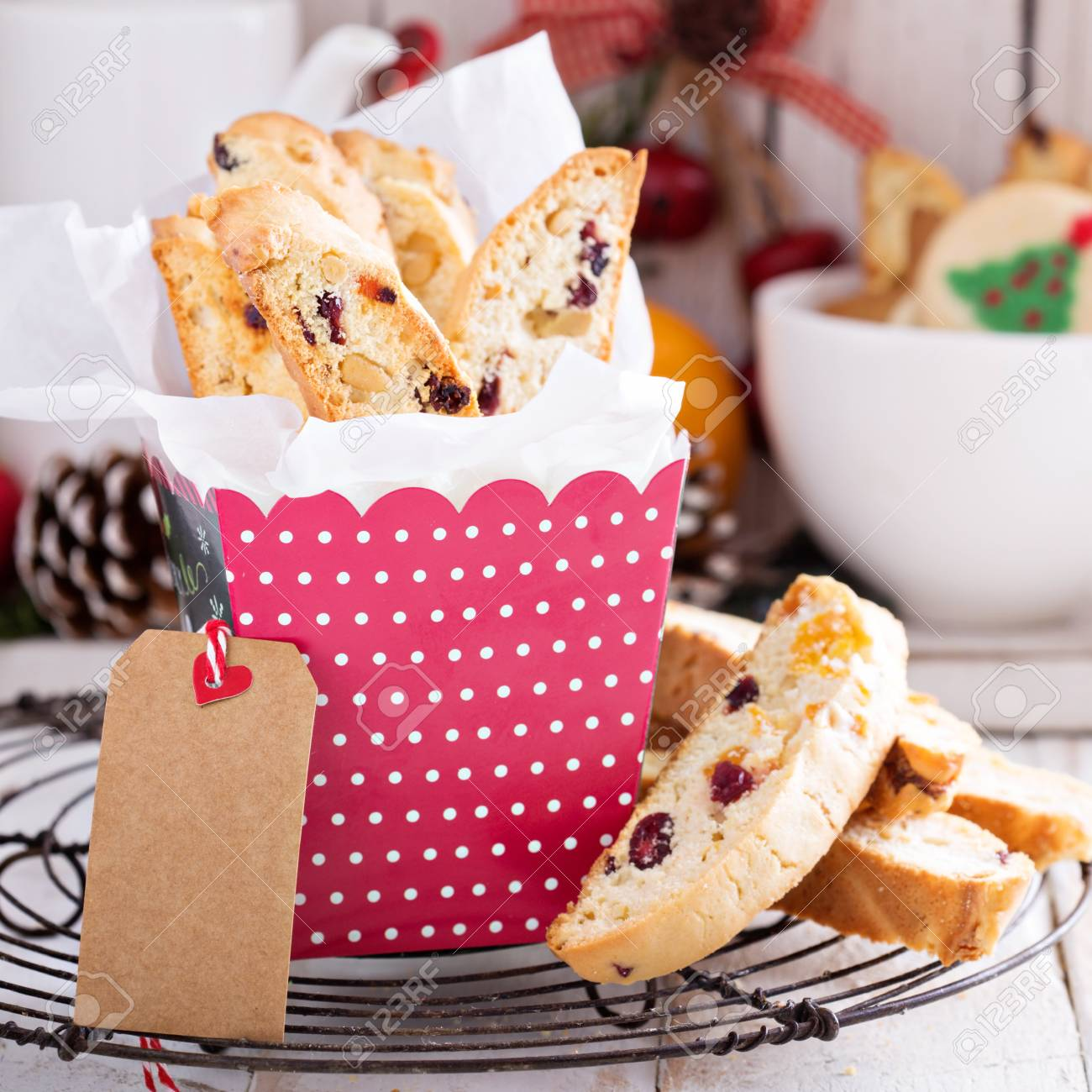 Christmas Biscotti For Cookie Swap With Fruits And Nuts In A