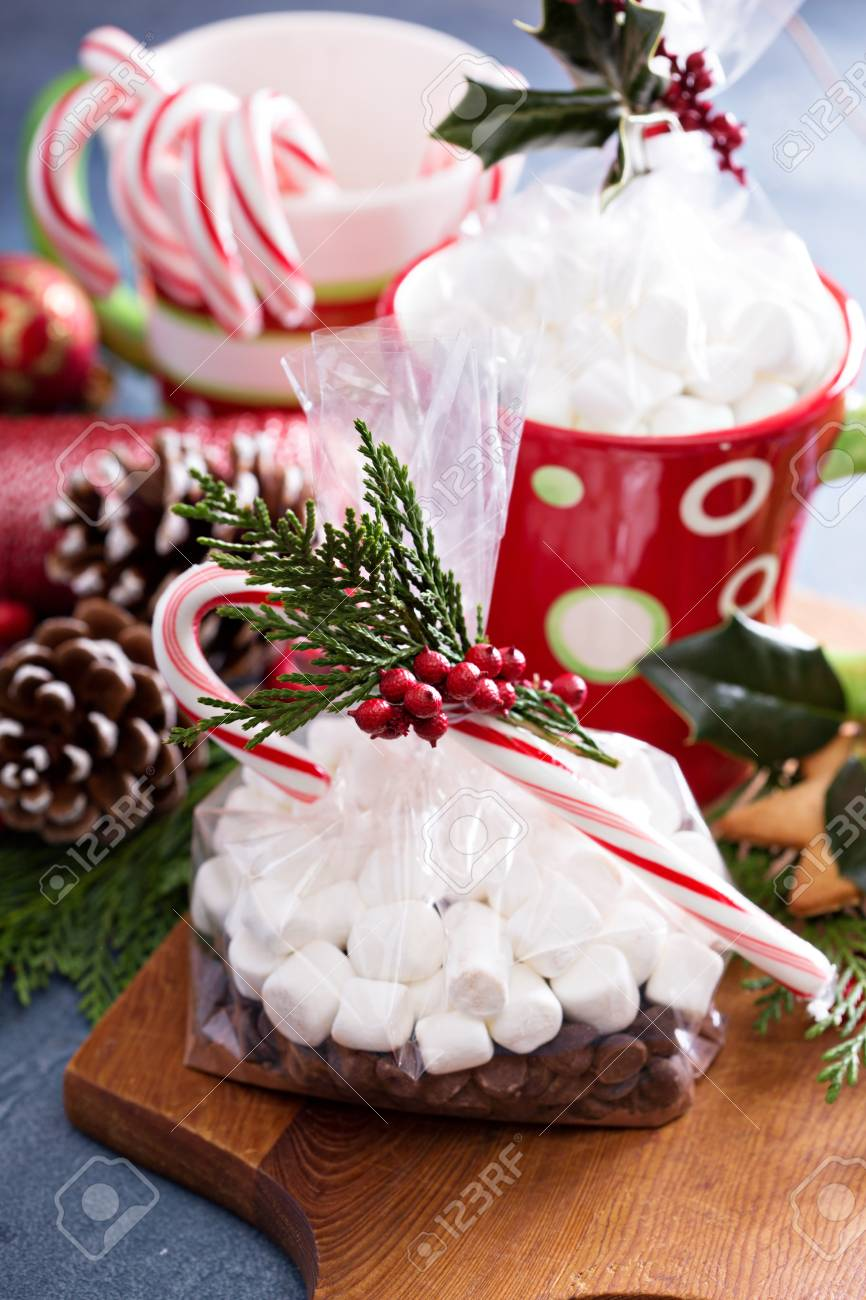 Hot Cocoa With Marshmallows And A Candy Cane As A Christmas Gift ...
