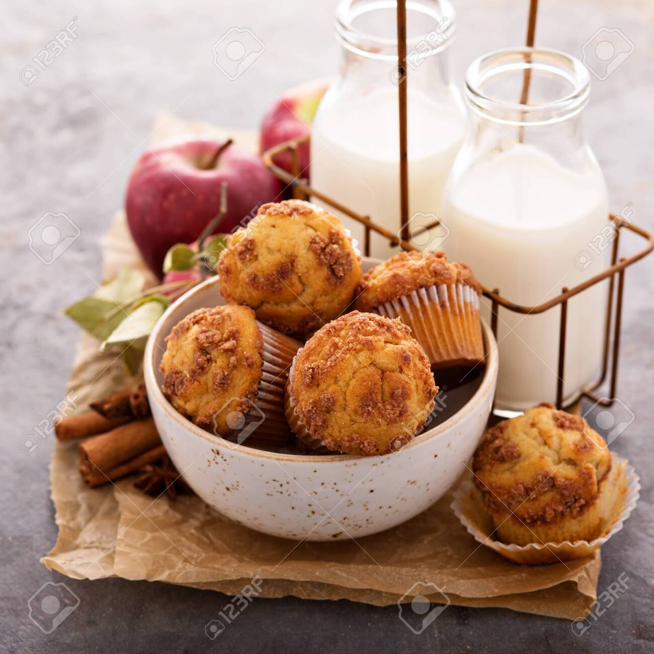 Apple cinnamon streusel muffins with milk bottles - 122038362