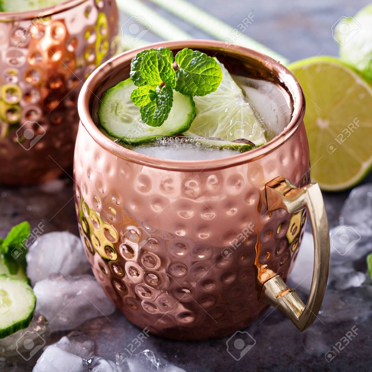 Moscow mule cocktail with lime and cucumber - 122038510