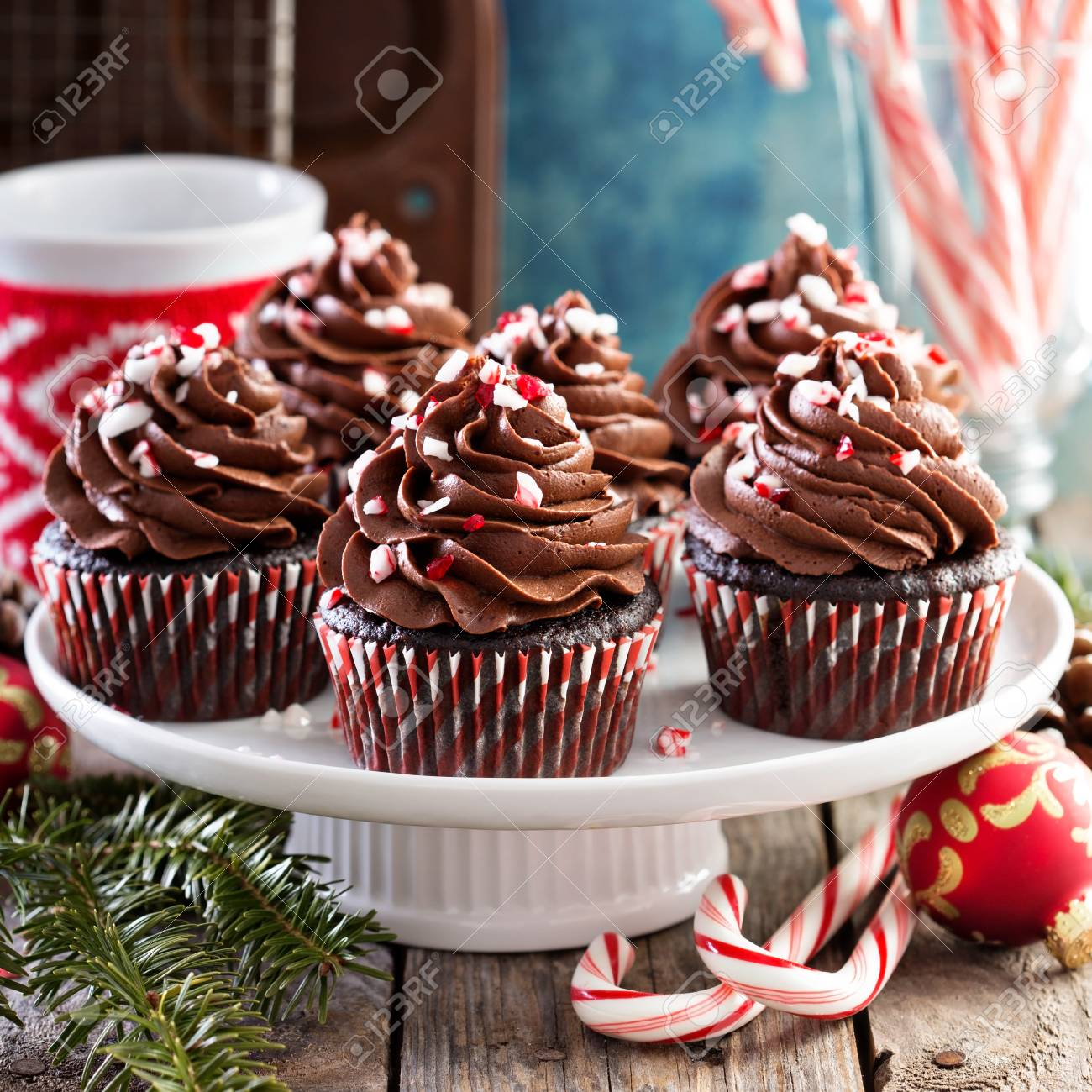 Christmas Chocolate Peppermint Cupcakes Stock Photo, Picture And ...