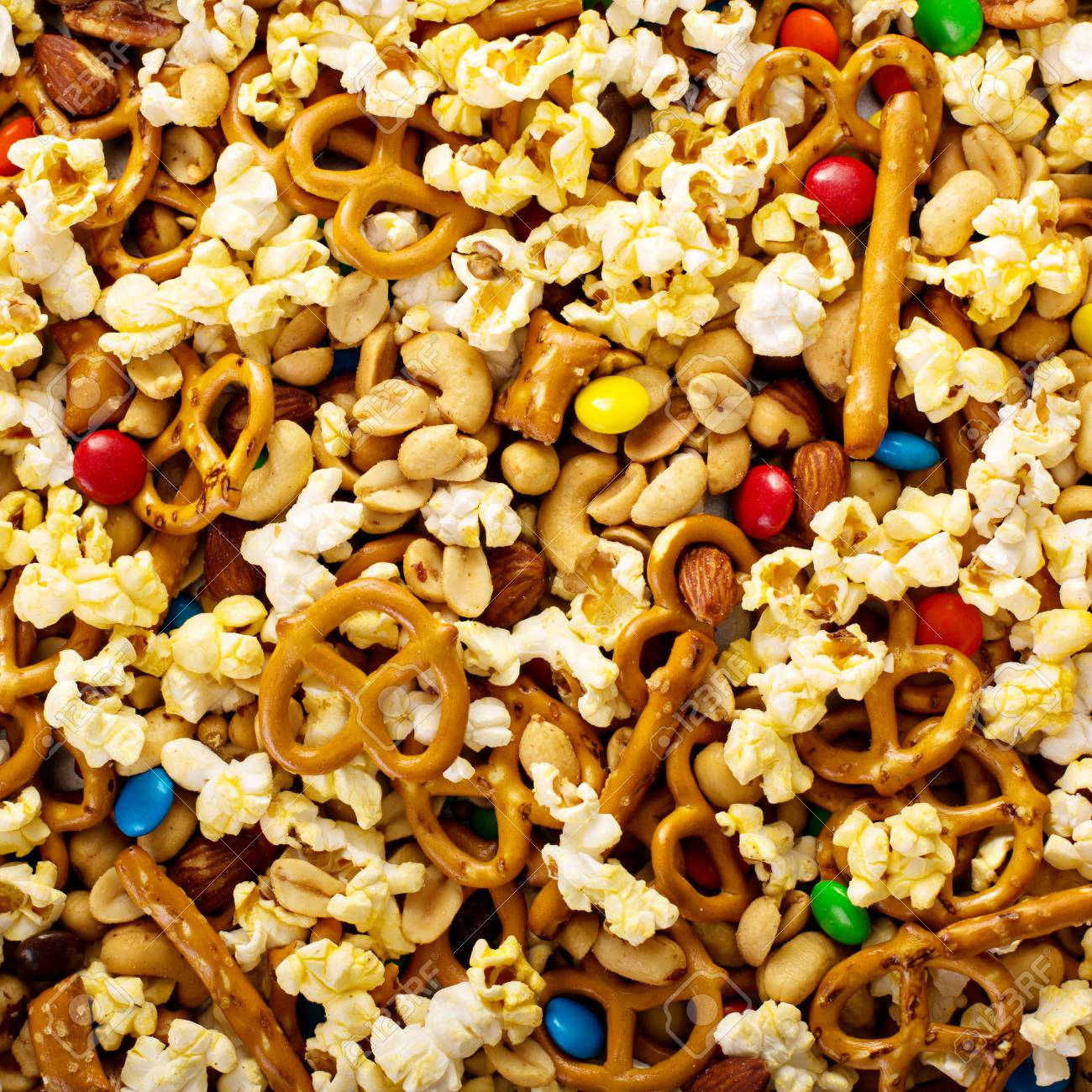 Homemade Trail Mix For Kids With Chocolate Candy Popcorn Pretzels