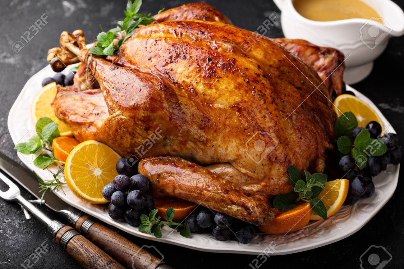 Festive celebration roasted turkey for Thanksgiving - 90943201