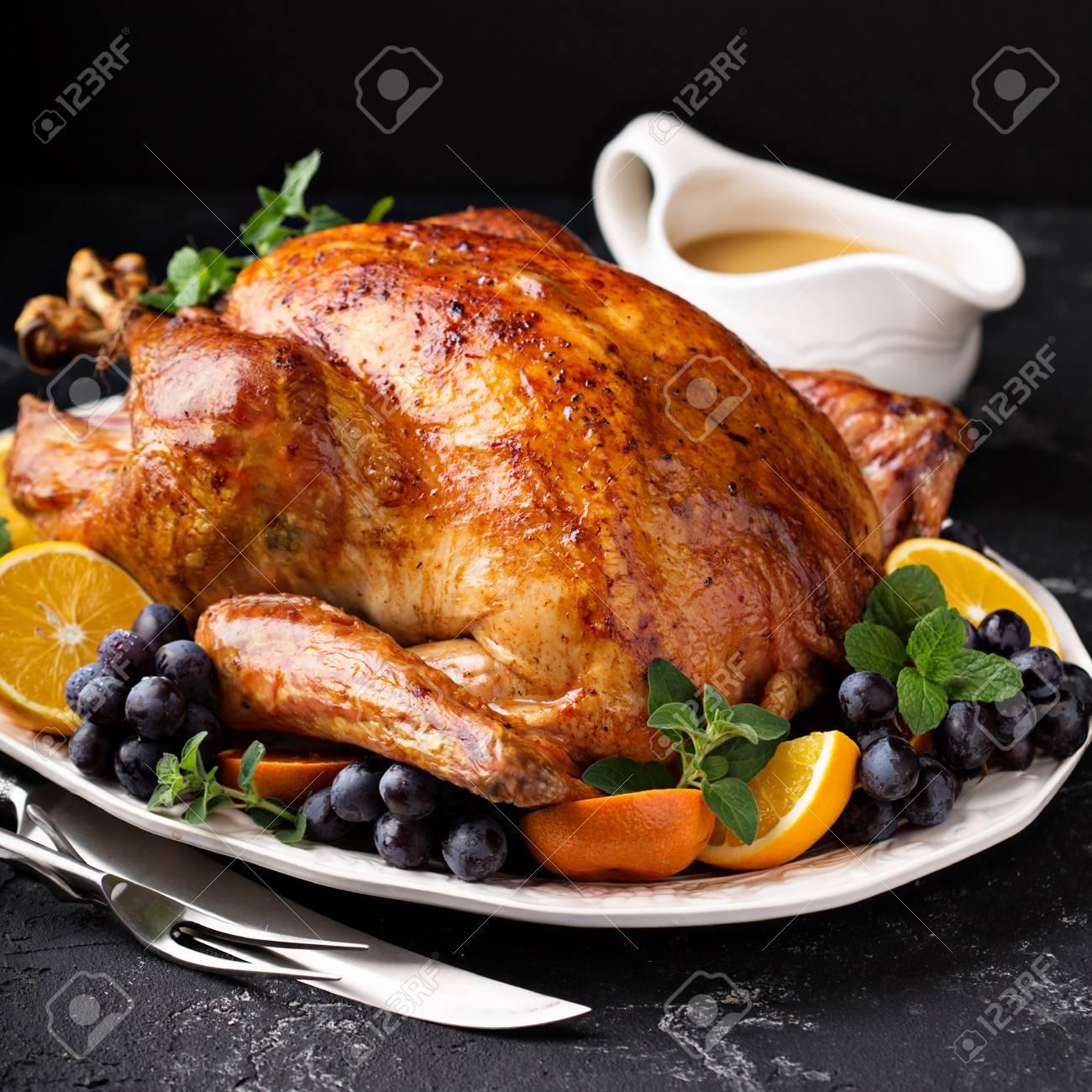 Festive celebration roasted turkey for Thanksgiving - 90943212