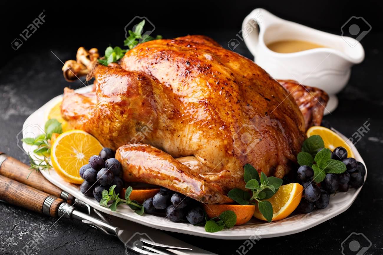 Festive celebration roasted turkey for Thanksgiving - 90943213
