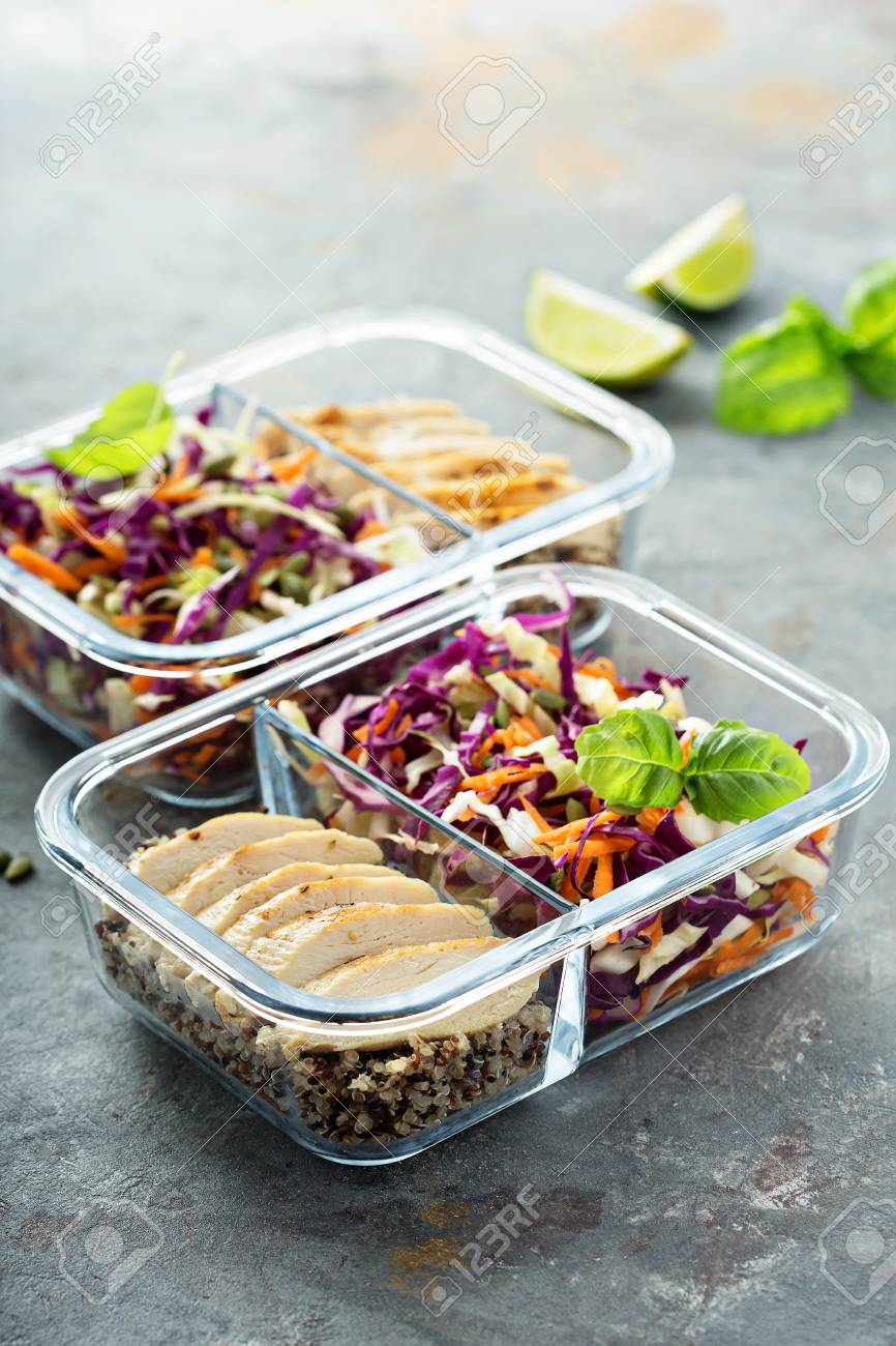 Healthy meal prep containers with quinoa and chicken - 94521830