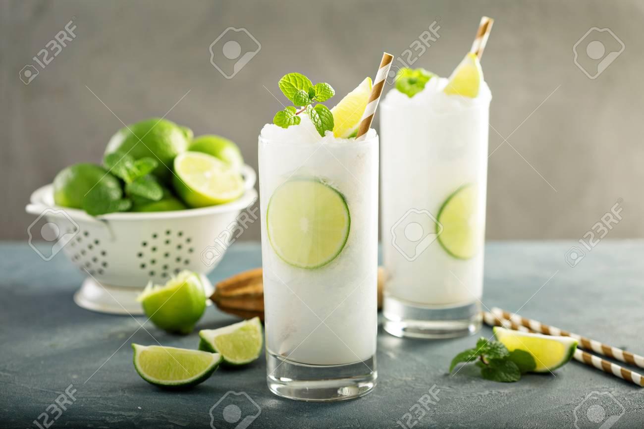 Refreshing summer drink lime frozen cooler or slushie - 94423927
