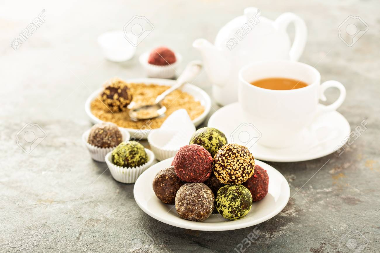 Healthy truffles with dates and nuts - 96534549
