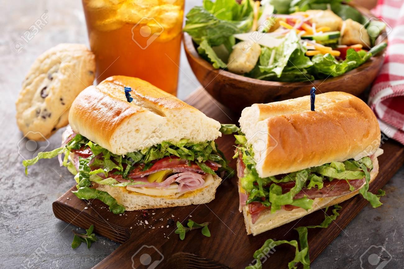 Italian sub sandwich with chips - 98985101