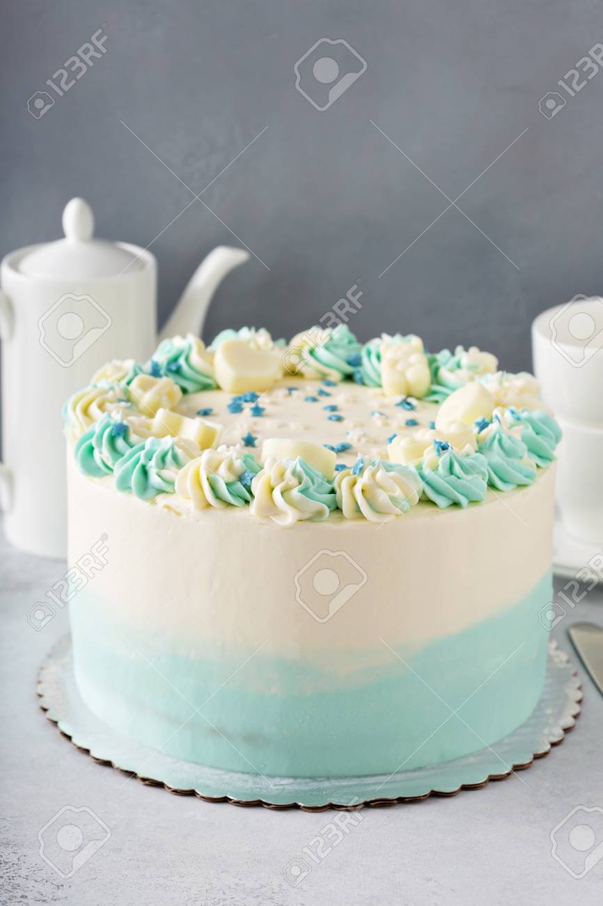 Simple Baby Shower Or Baptism Cake
