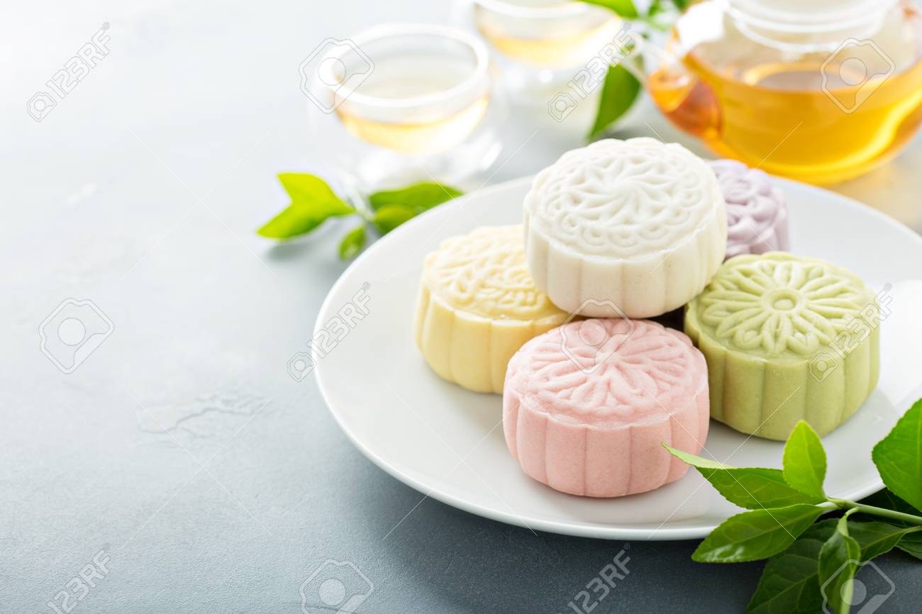 Snow skin sweet and savory traditional Chinese mooncakes - 107980506