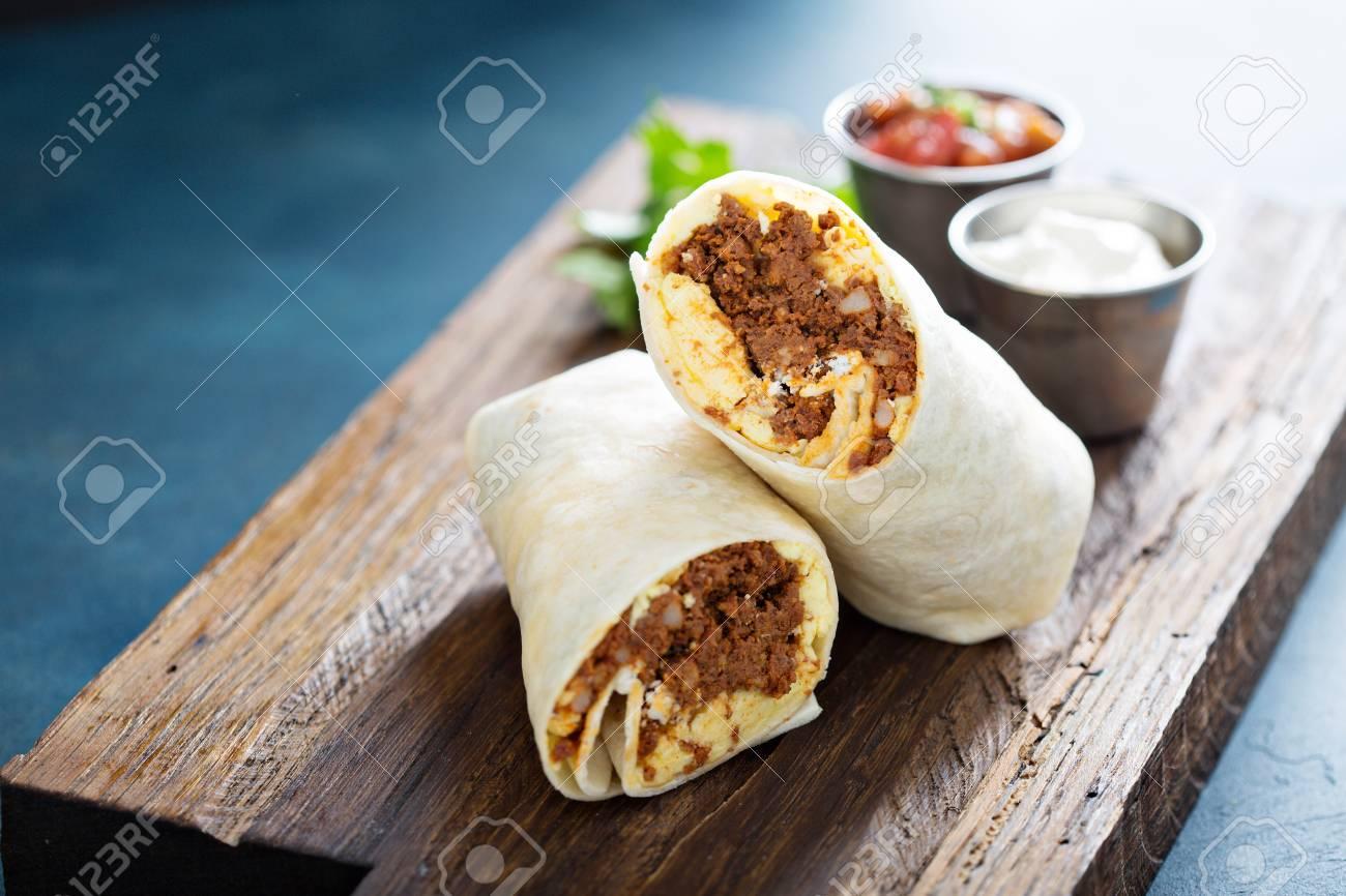 Breakfast burrito with chorizo and egg - 107981488