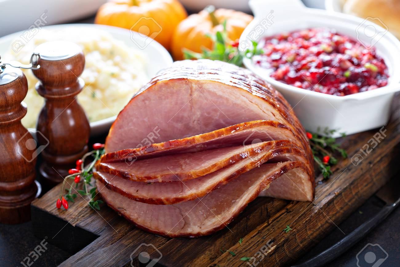 Holiday glazed sliced ham - 110714937