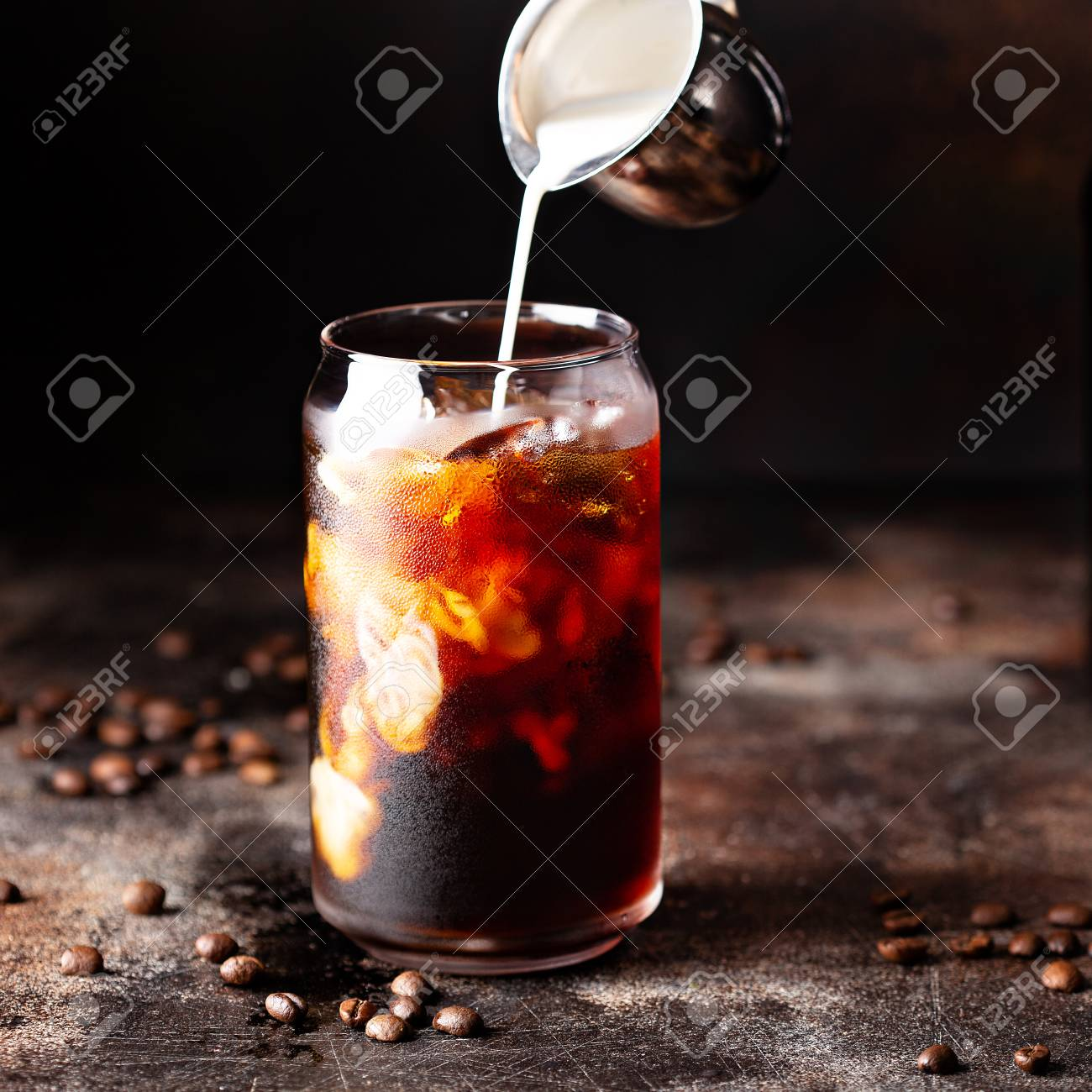 Cold brew iced coffee in glass bottles - 110714421