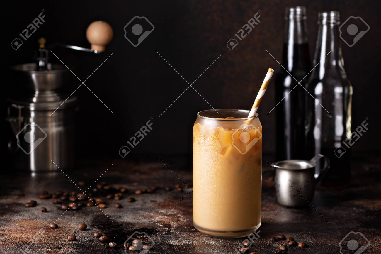Cold brew iced coffee in glass bottles - 110714427