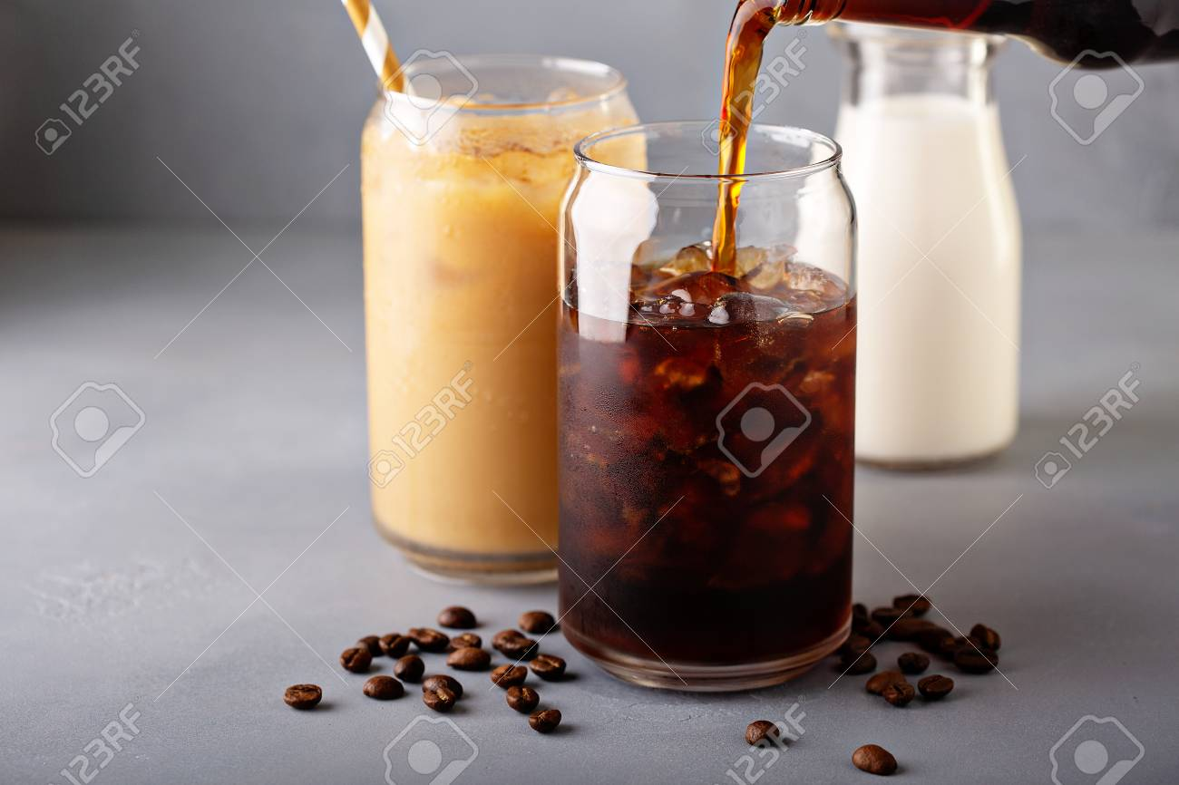 Cold brew iced coffee in glass bottles - 110714431