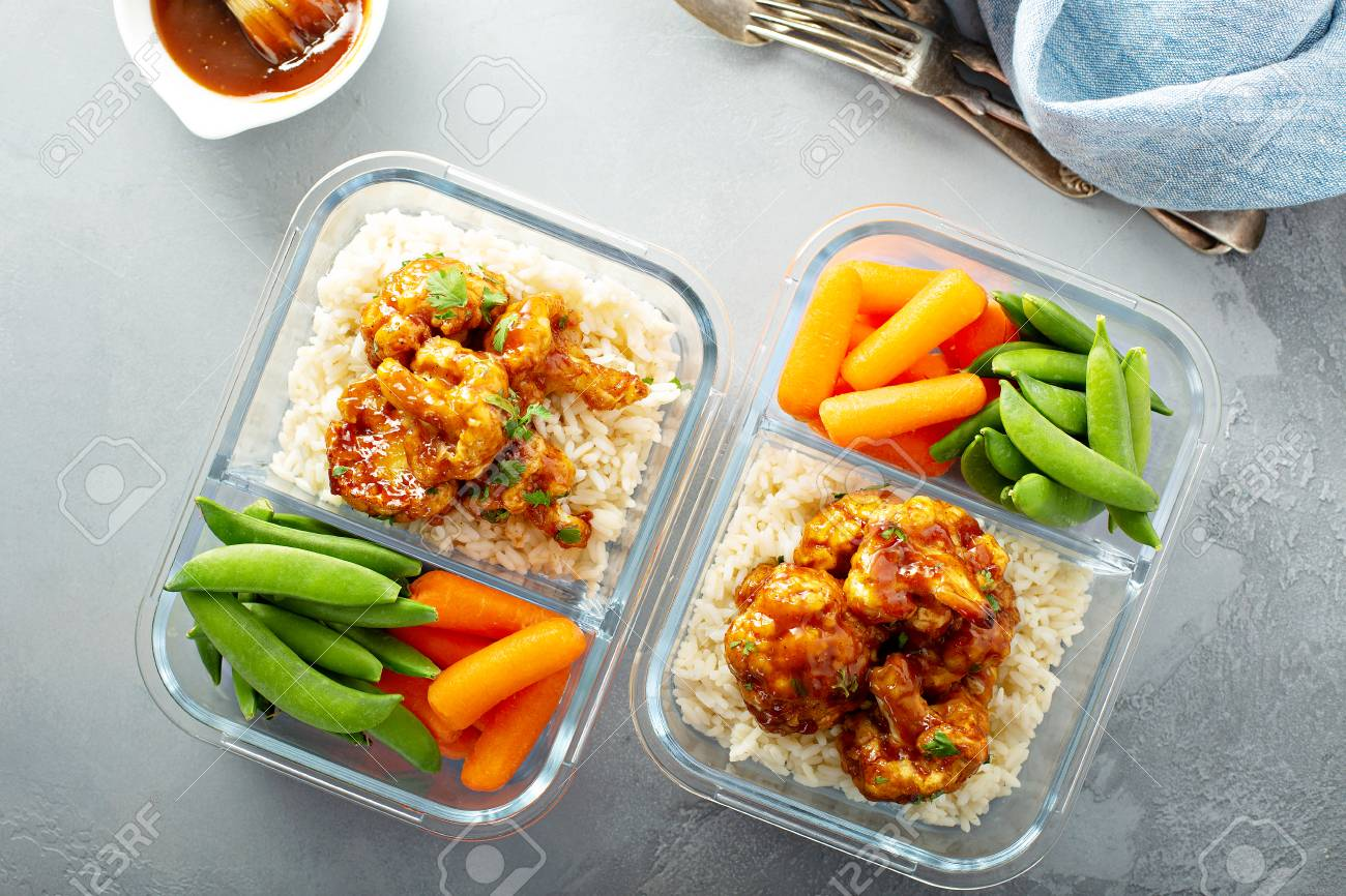 Vegan meal prep with bbq cauliflower - 120428423