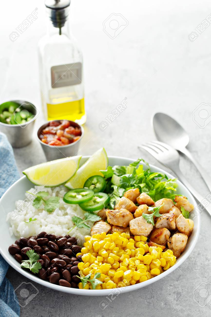 Chipotle spicy chicken with rice corn, beans - 120473716