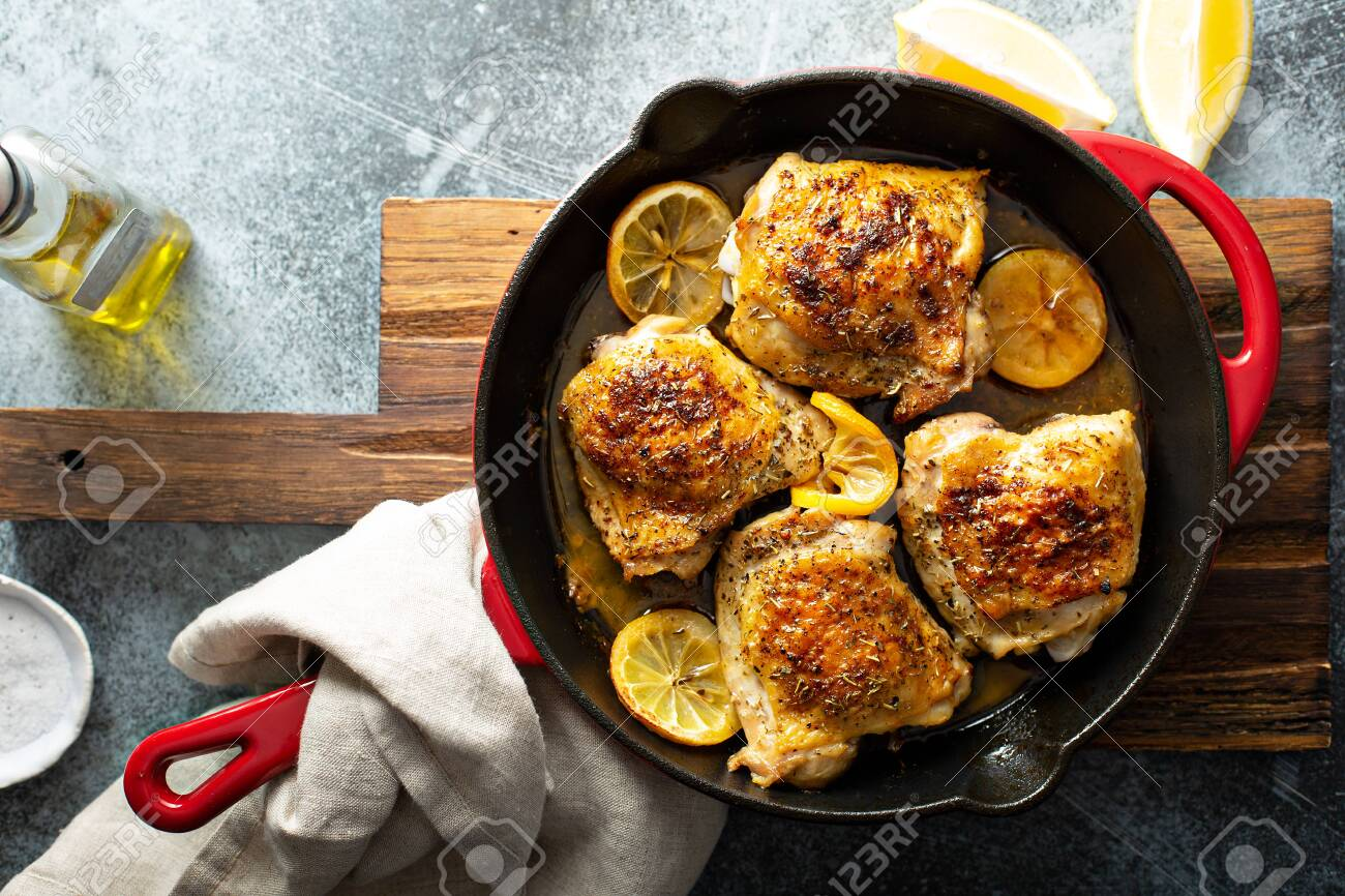 Lemon herb roasted chicken - 120473761
