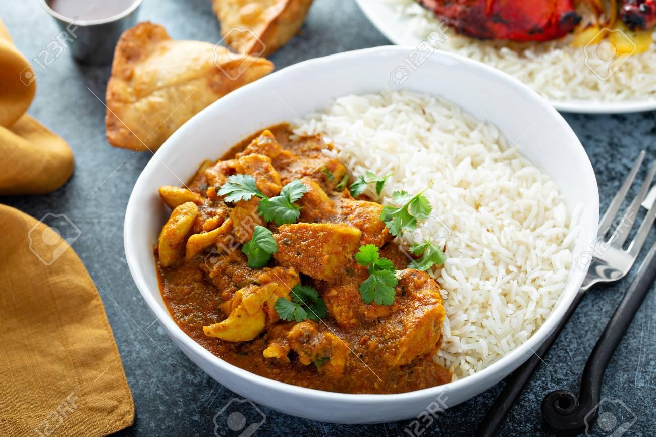 Chicken curry with jasmine rice - 122995705