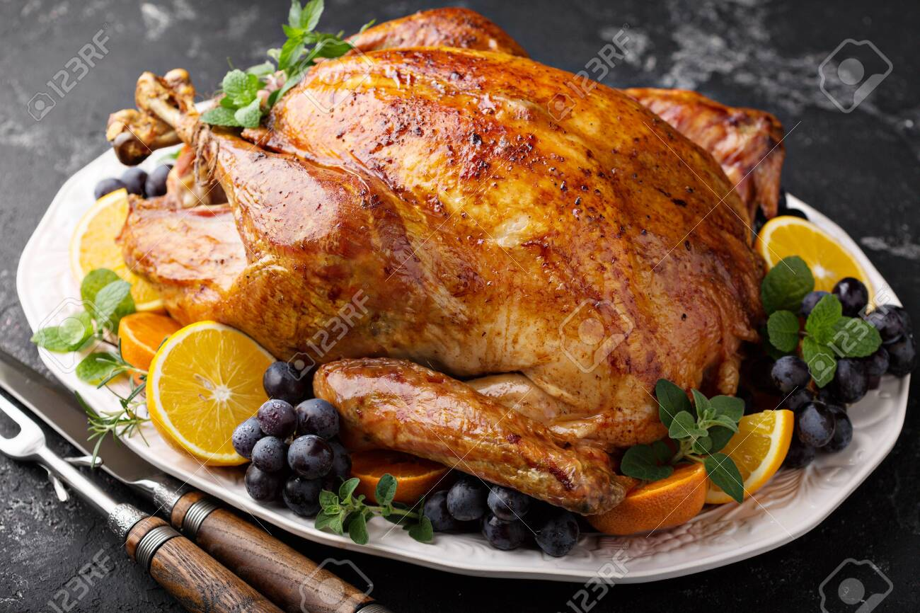 Whole roasted turkey for Thanksgiving - 129626888