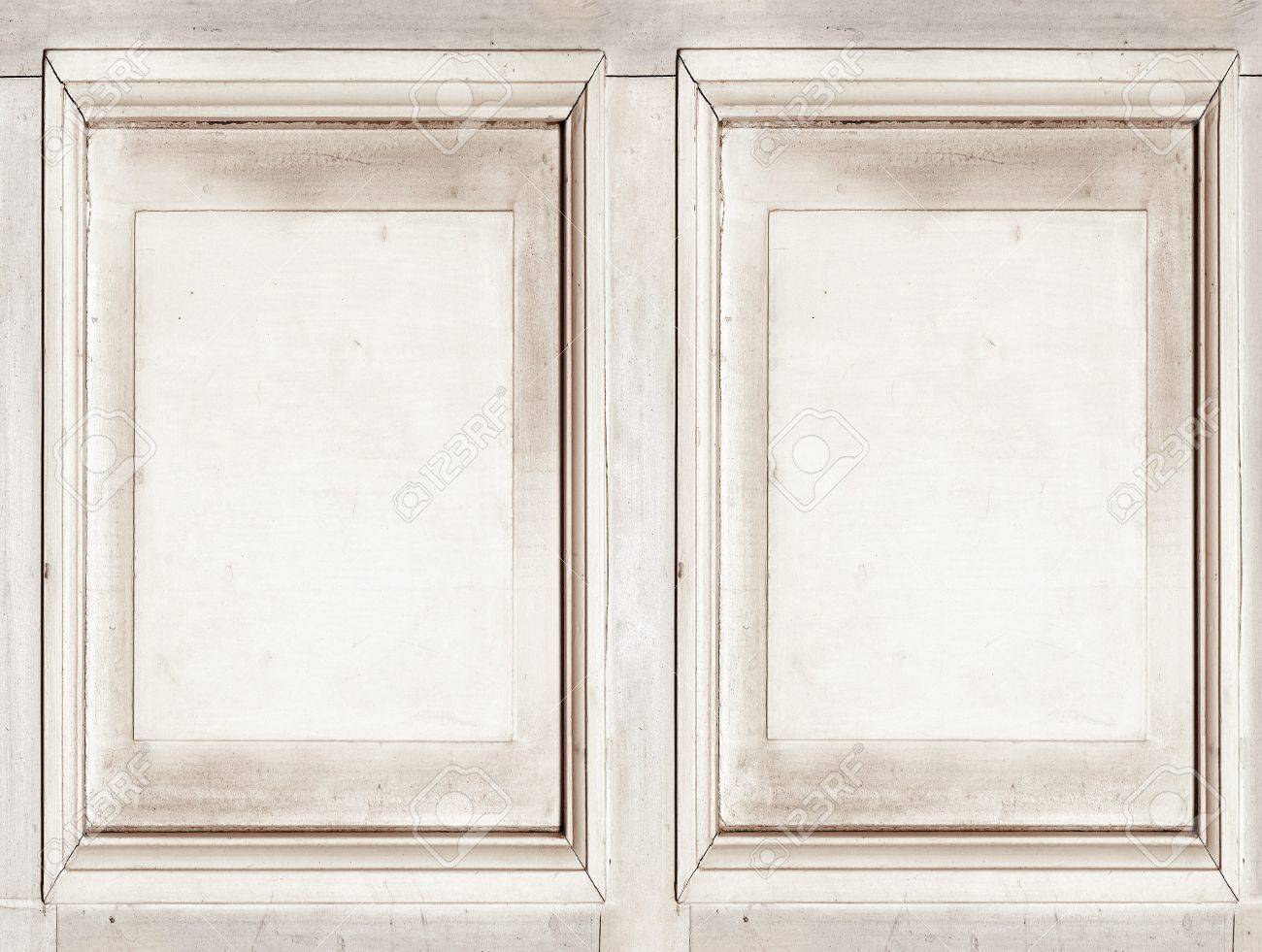 double frame of old whitewood rough texture free space for your photo or text stock
