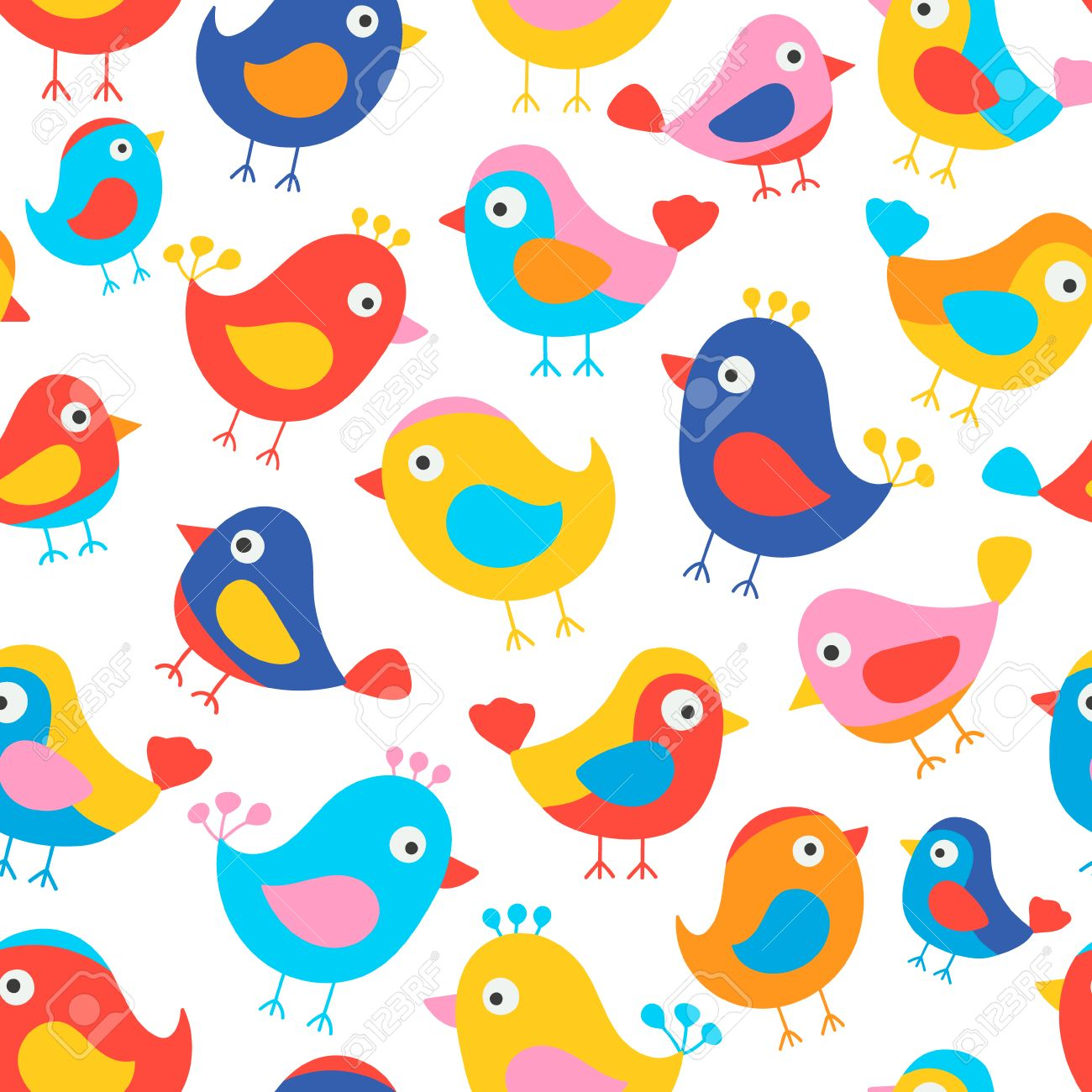 hand drawn seamless pattern with cute birds fun birds for kids