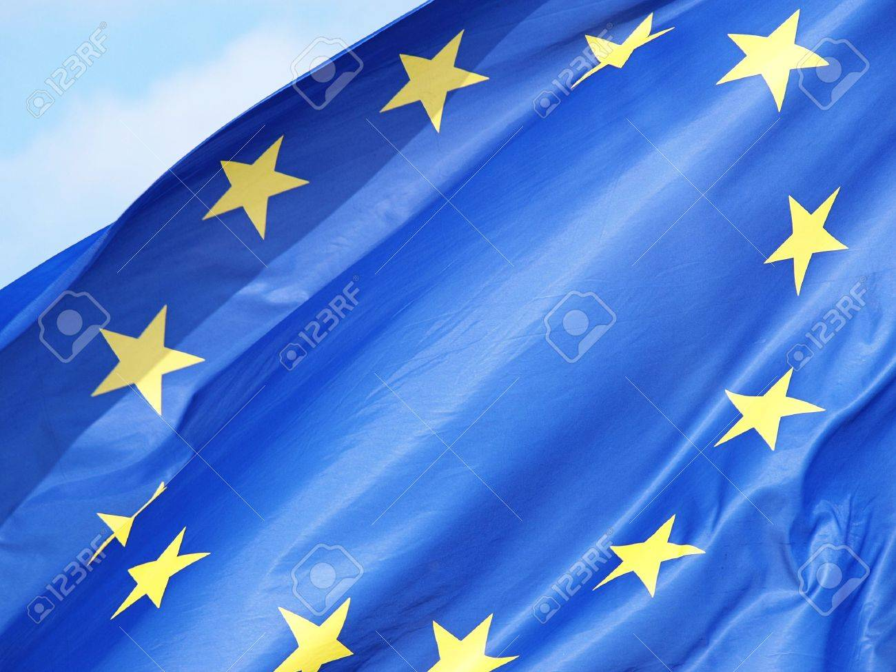 A shot of the European flag on bright blue sky Stock Photo - 10103647