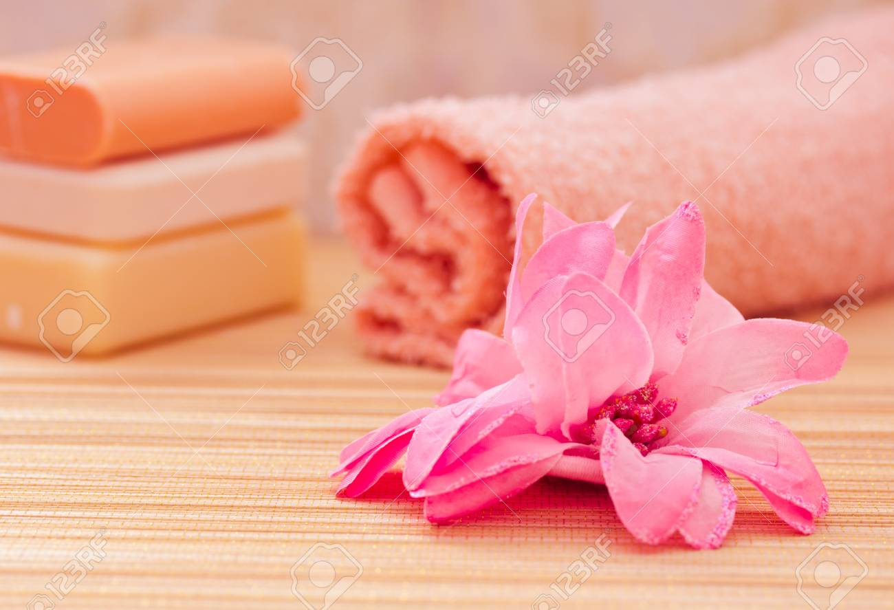 soap, towel, flower for a daily spa/bath image Stock Photo - 13008537