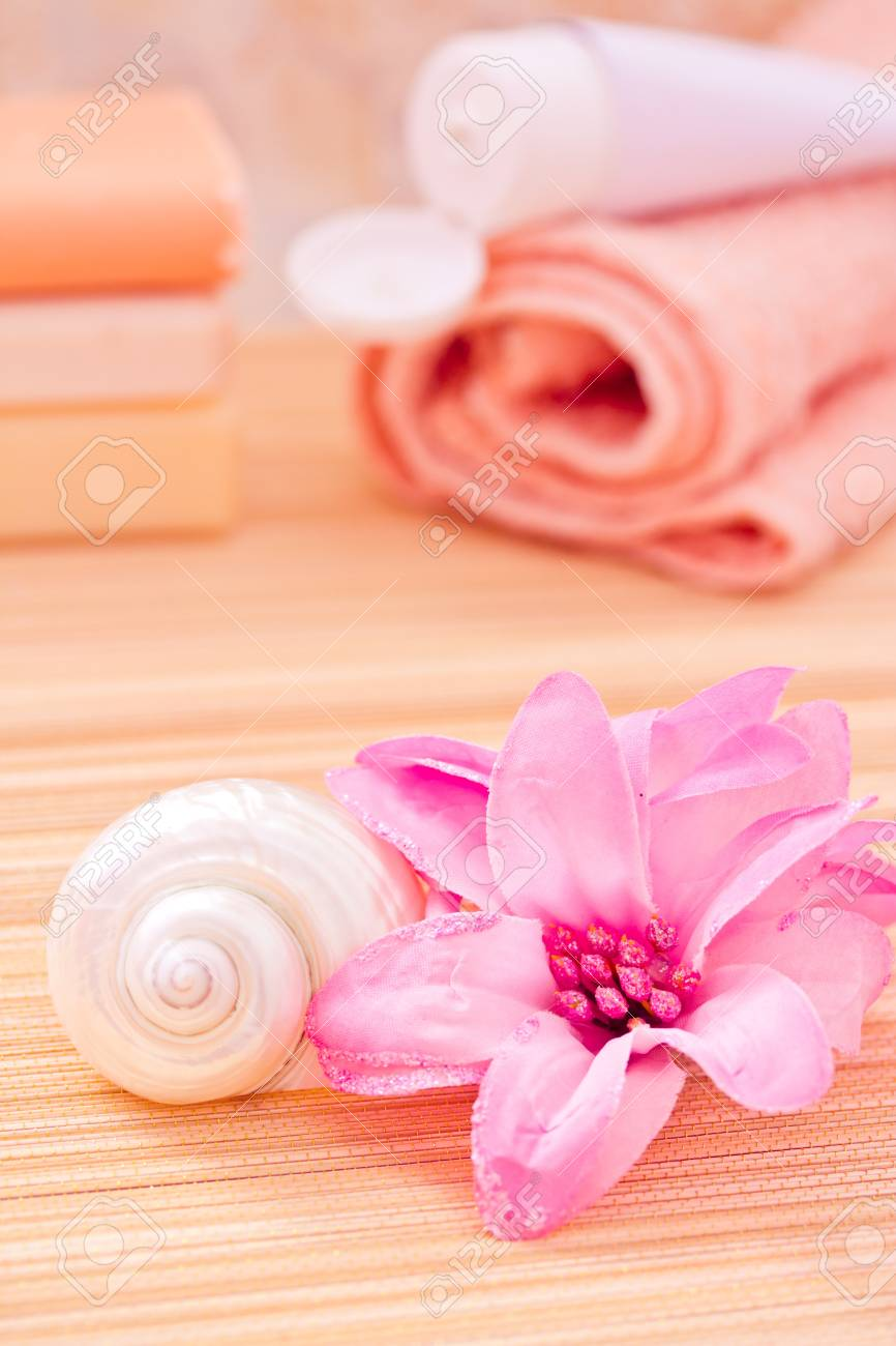 soap, towel, flower for a daily spa/bath image Stock Photo - 13008544