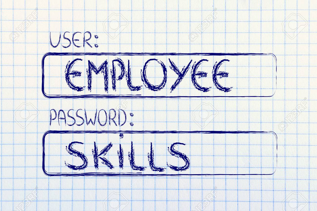user and password concept of how an employee needs good skills stock photo user and password concept of how an employee needs good skills