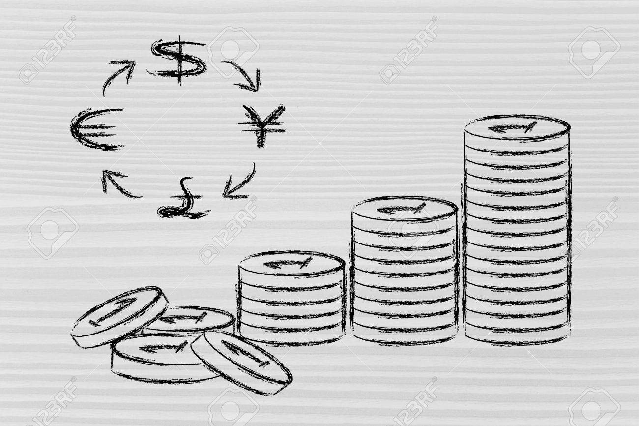 Concept Of Exchange Rates Coins And Currency Symbols Stock Photo