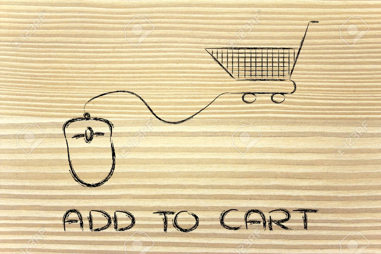 online sales and marketing strategy: mouse with cart Stock Photo - 26888125