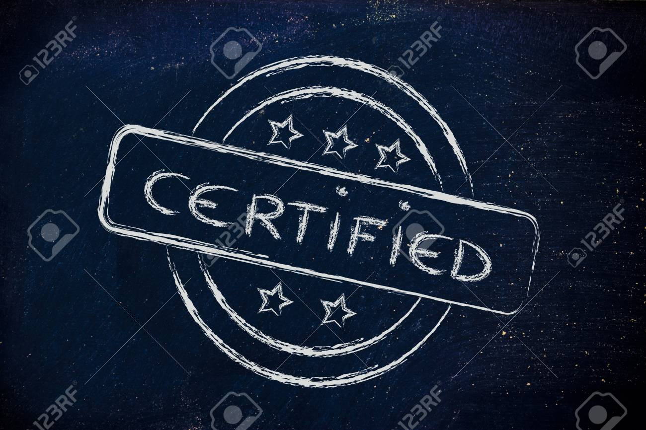 design of a stamp with the writing Certified Stock Photo - 26976235