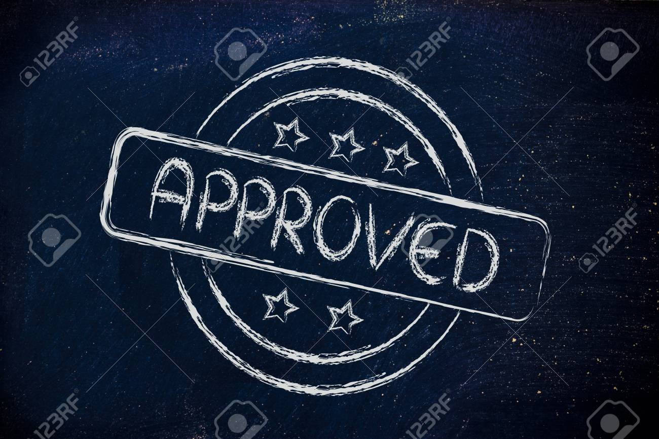 design of a stamp with the writing Approved Stock Photo - 26976270