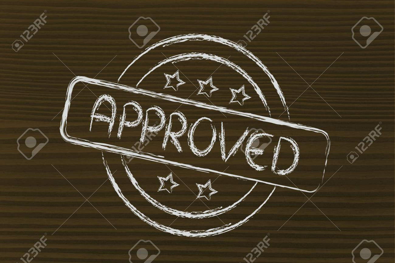 design of a stamp with the writing Approved Stock Photo - 26976273