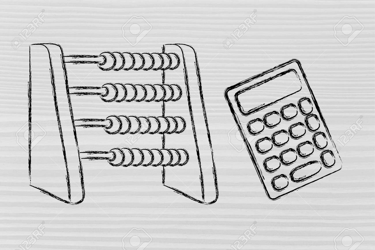 plan your savings or establish a budget funny abacus and calculator