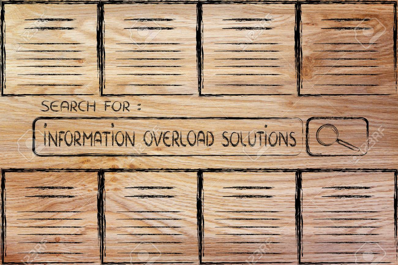 information overload, reliable sources and searching for online documents Stock Photo - 29221307