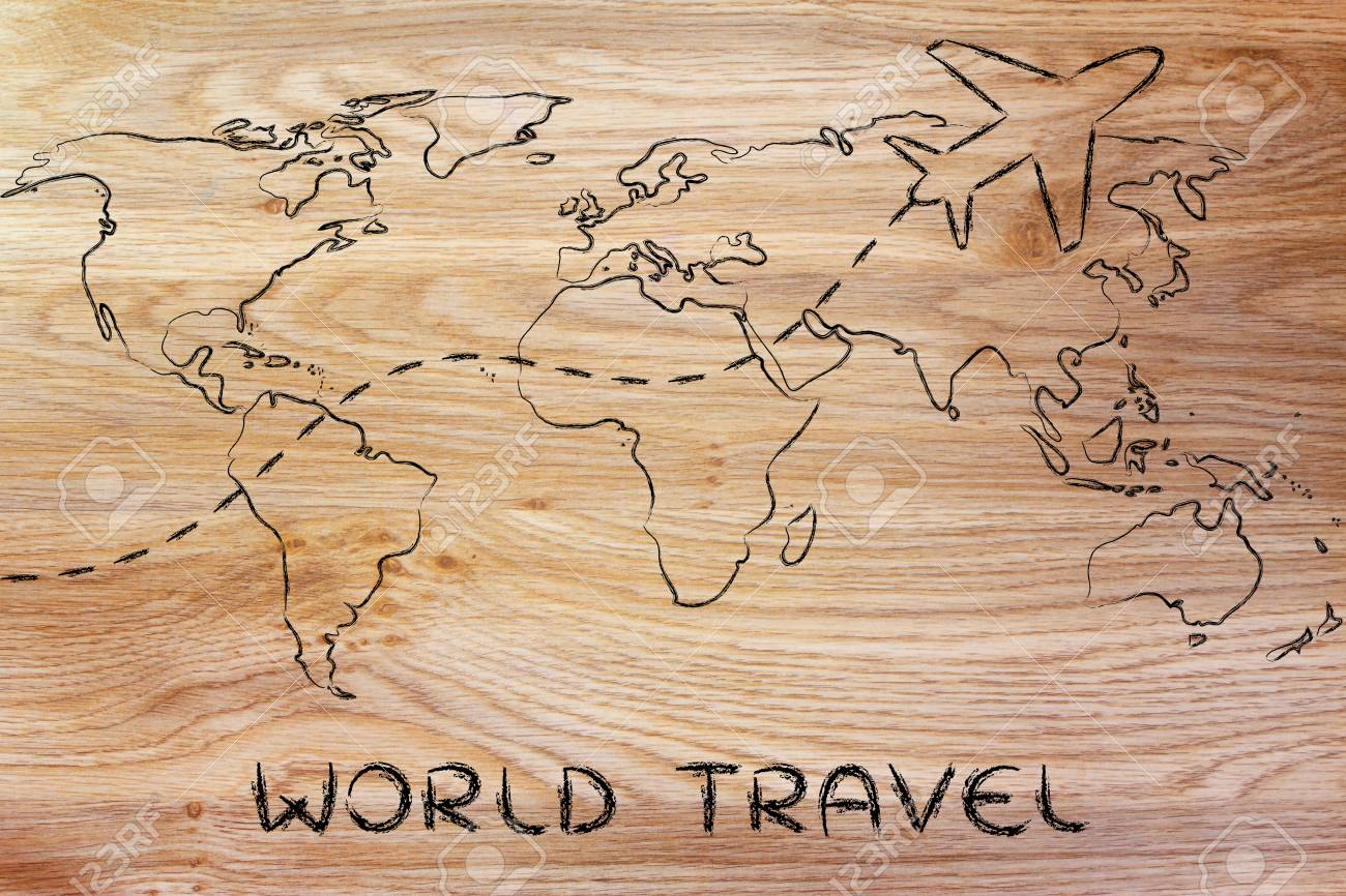 Plane Air Route And World Map Global Travel And Business Stock Photo Picture And Royalty Free Image Image 33165351