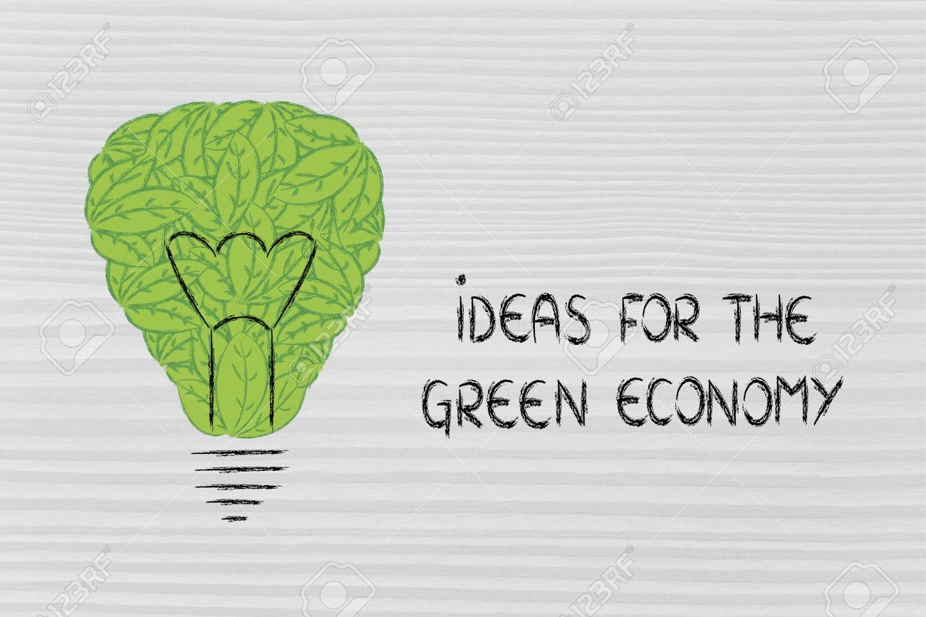 Ideas Para La Economía Verde: Metáfora De Bombilla Hecha De Hojas ...