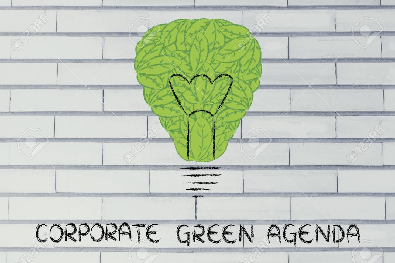Corporativo Agenda Verde: Metáfora De Bombilla Hecha De Hojas Fotos ...